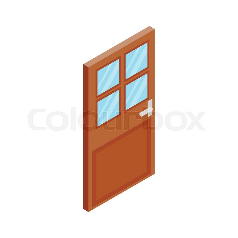 Wooden Door With Glass Icon In Isometric 3d Style Isolated On White