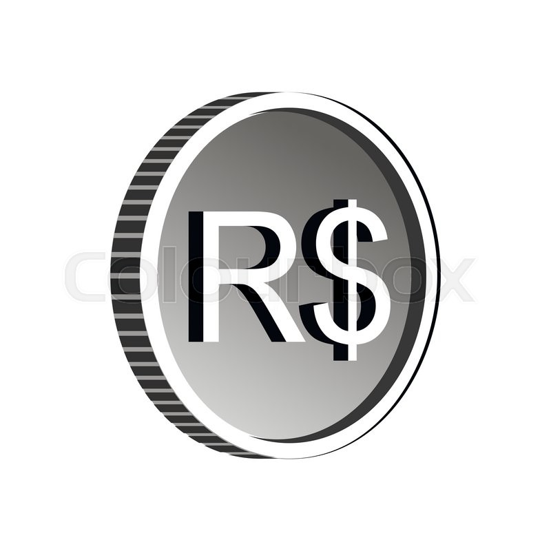 Brazilian Real Sign Icon In Simple Style Isolated On White