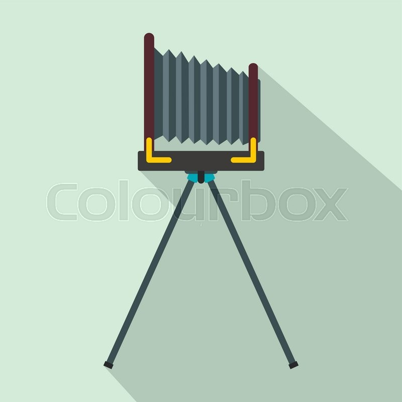 Old photo camera with tripod icon, flat style, vector