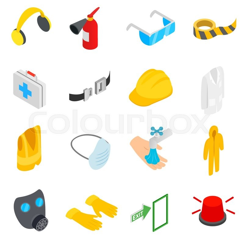 safety icons set in isometric 3d style on a white background stock