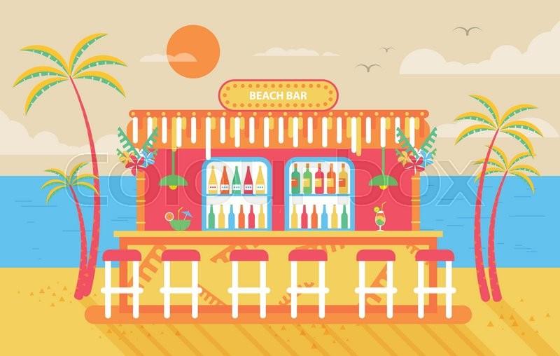 Stock Vector Illustration Of Happy Sunny Summer Day Beach