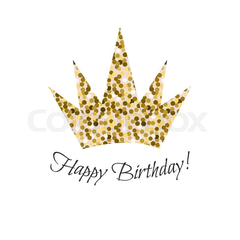 Birthday glitter crown vector icon gold glitter crown for for Happy birthday crown template