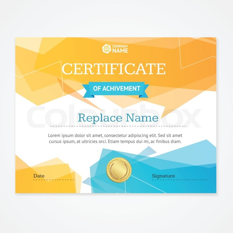 modern certificate template horizontal with geometric pattern vector illustration stock vector colourbox - Modern Certificate Template