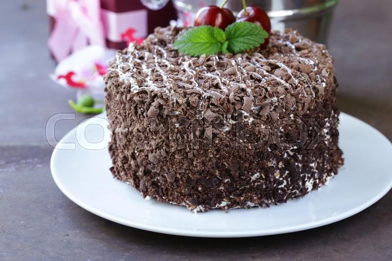 Chocolate cake with fresh cherries (Black Forest, Schwarzwald), stock photo