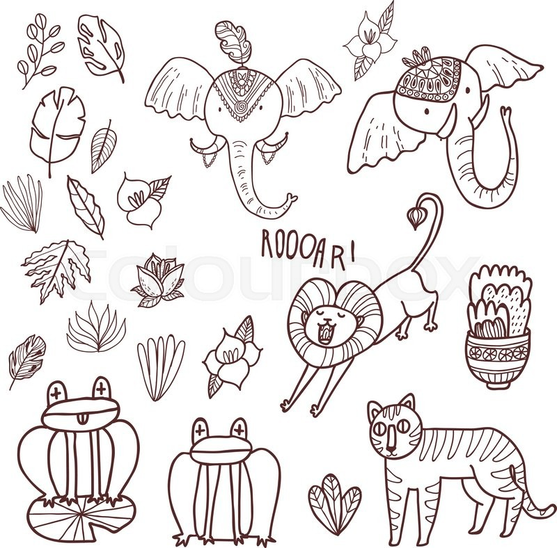 fun wild jungle animals in cartoony style for your textile scrapbook paper web and stationary design adult coloring book stock vector colourbox - Coloring Book Paper Stock