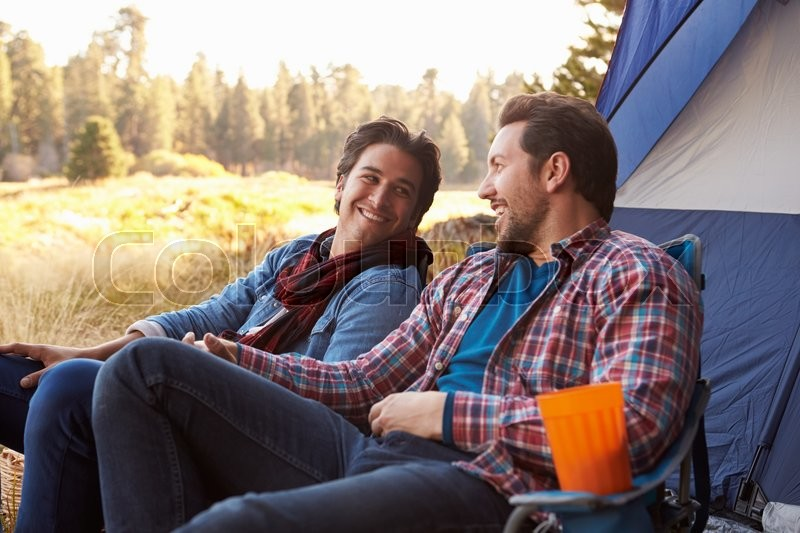 Prepared gay campers arrive stocked with camping gear