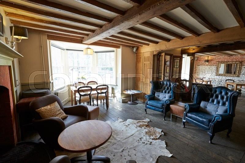 Empty Seating Area In Elegant Hotel Bar, stock photo