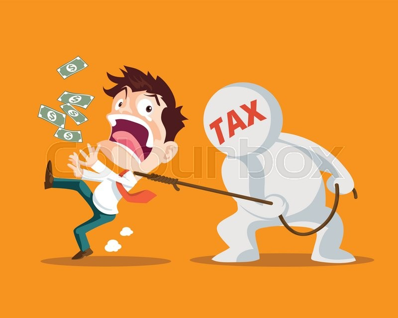 Businessman running away from tax,Man strangled by taxes is inevitable,Tax man pulling businessman,, vector