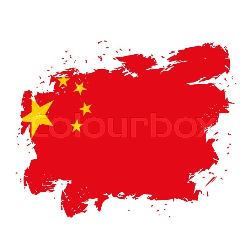 China Flag Grunge Style On White Background Brush Strokes And Ink