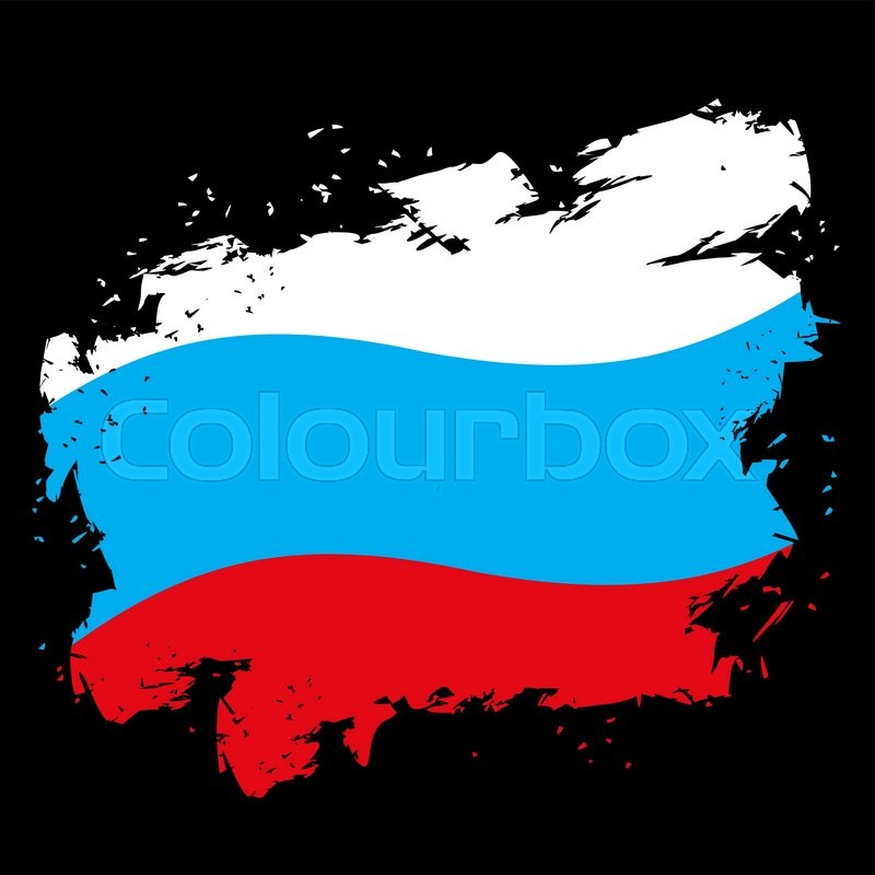 Russian Flag Grunge Style On Black Background Brush Strokes And Ink