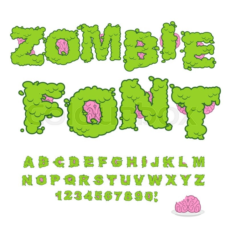 Zombie font. Scary Green letters and brain. Horrible Halloween ...