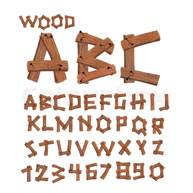 Wood Logs Fonts ~ Wood font old boards alphabet wooden planks with nails