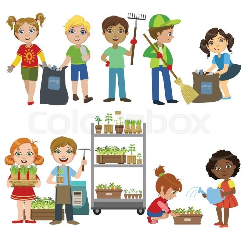 Kids Gardening And Picking Up Garbage Set Of Bright Color ...
