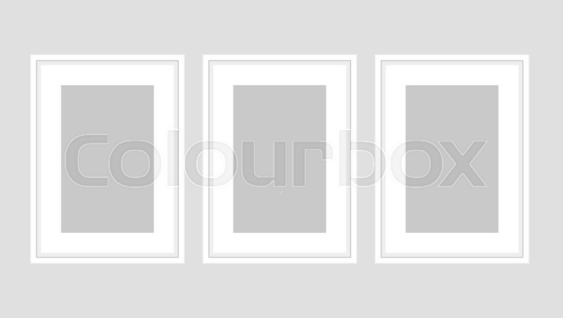 Wall art poster set of three white A4 frames. Template vector mock ...
