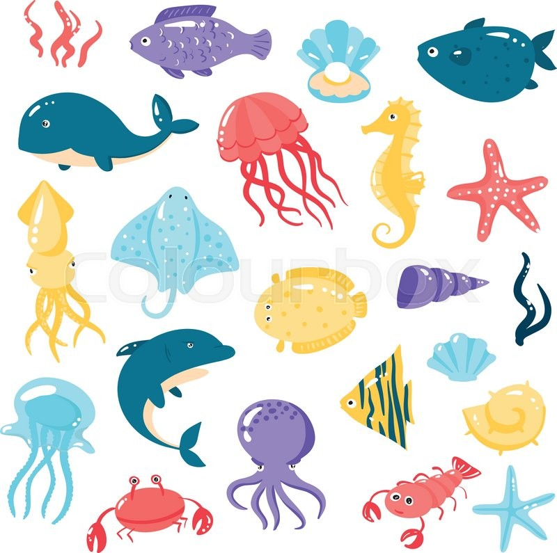 Set of different sea animals in cute cartoon style Vector