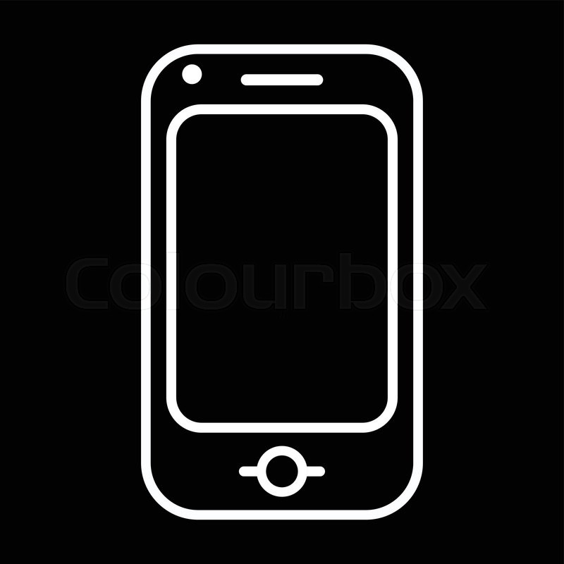 Modern Mobile Phone Line Art Vector Icon Isolated On A