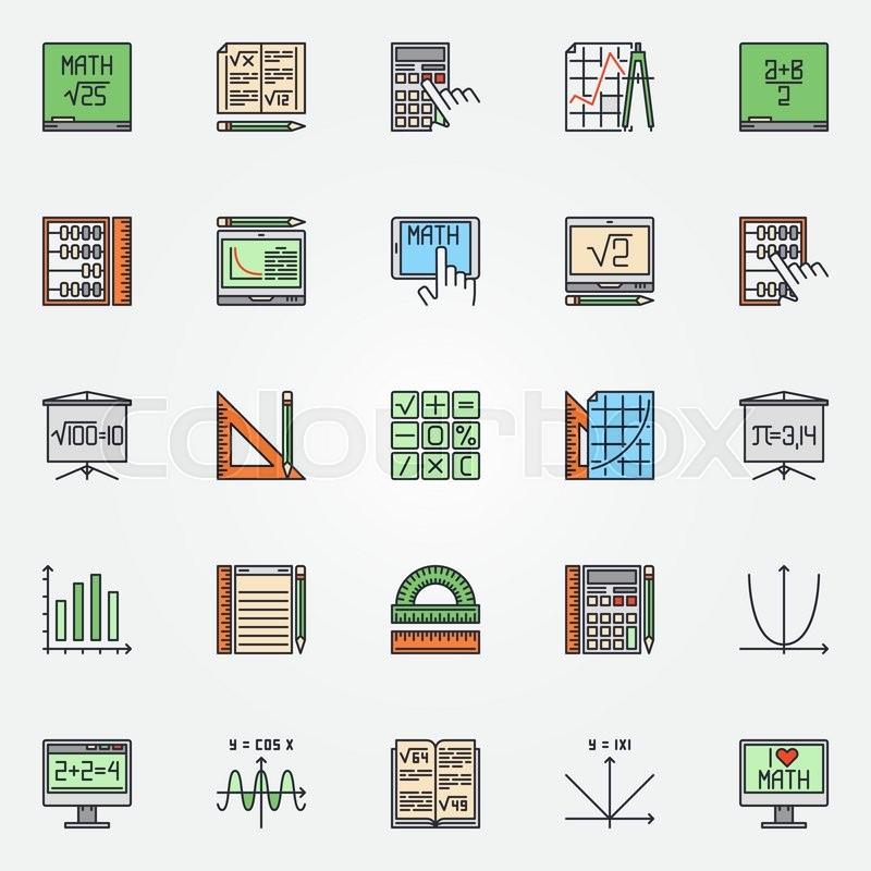Mathematics Icons Set Vector Colorful Math Symbols Or Algebra