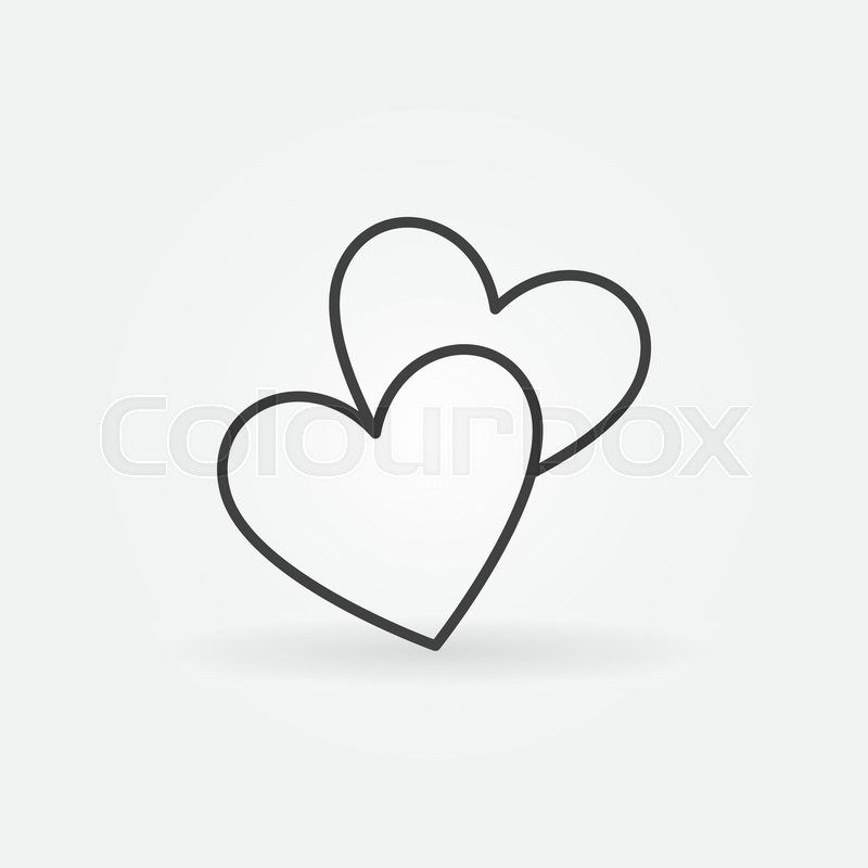 Line Art Love Heart : Two hearts line icon vector simple heart symbol or love