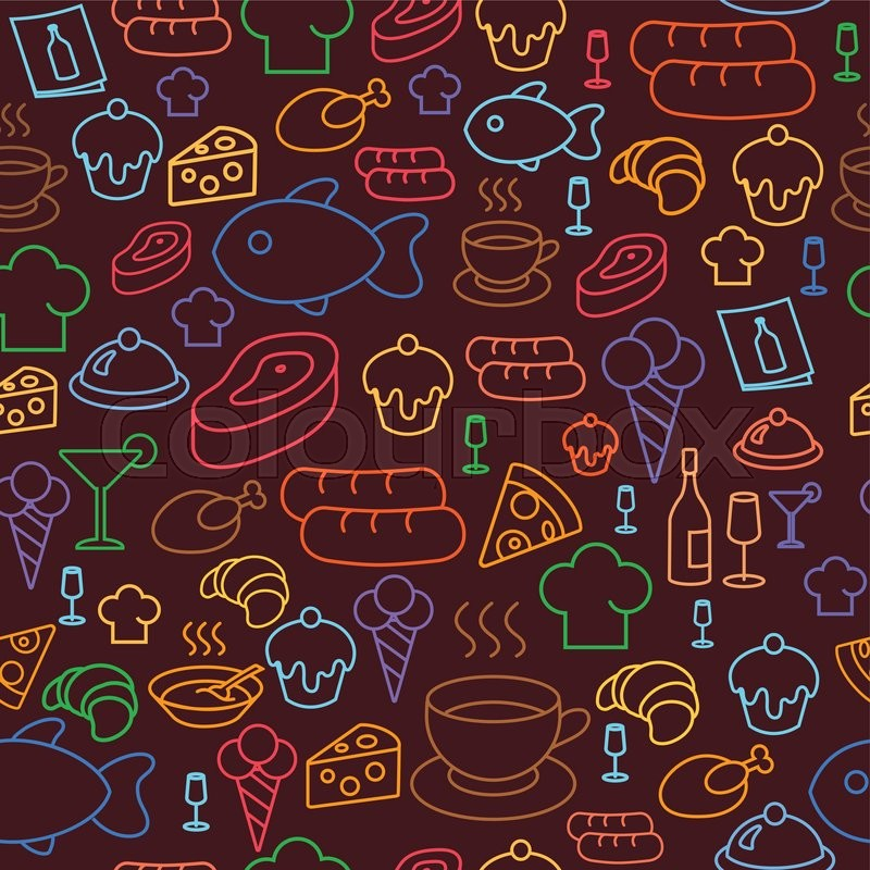Seamless Wallpaper Pattern With Ice Cream Icons Stock: Background With Colored Line Icons Of Restaurant And Fast