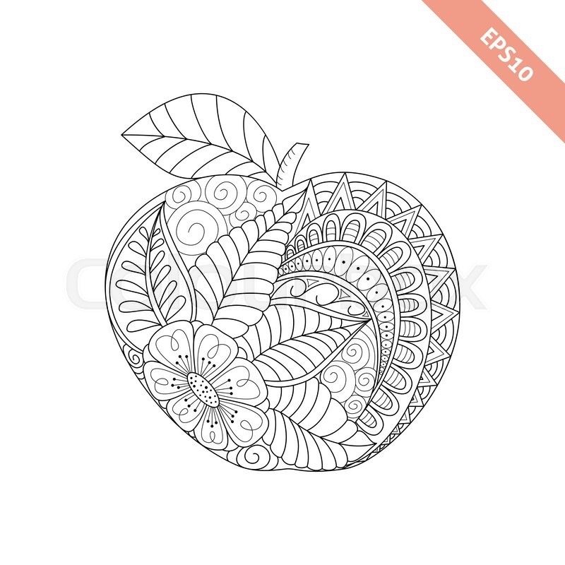 Stock Vector Of Illustration Cartoon Ornate Apple Coloring Book Page
