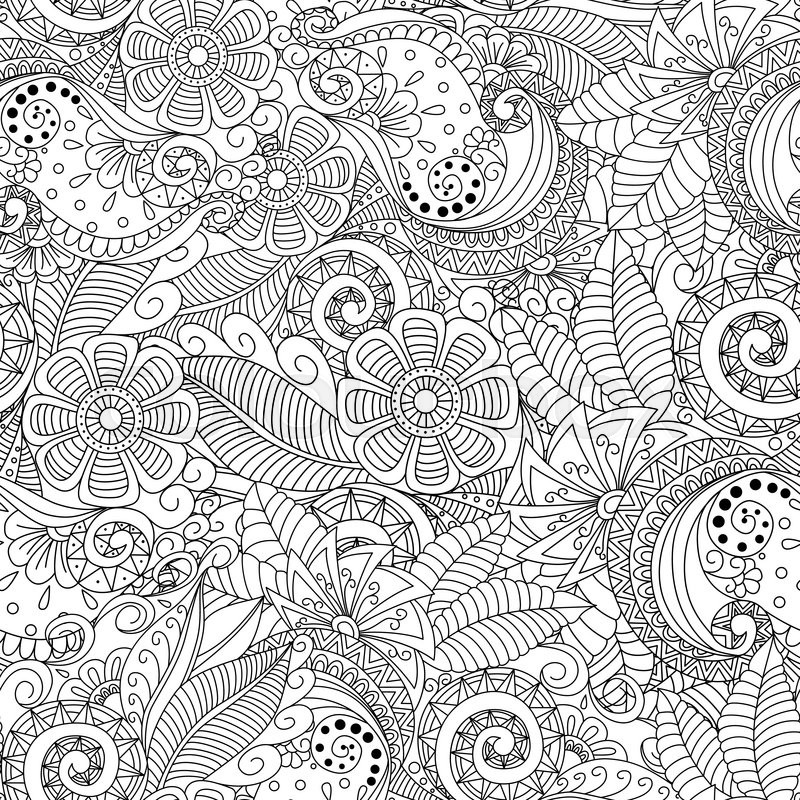 Black and white seamless floral background. Design for adults and ...