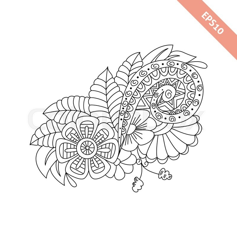 Hand Drawn Floral Background Doodle Style Design For Cover Bag Knapsack Notebook Datebook Coloring Book Page Vector