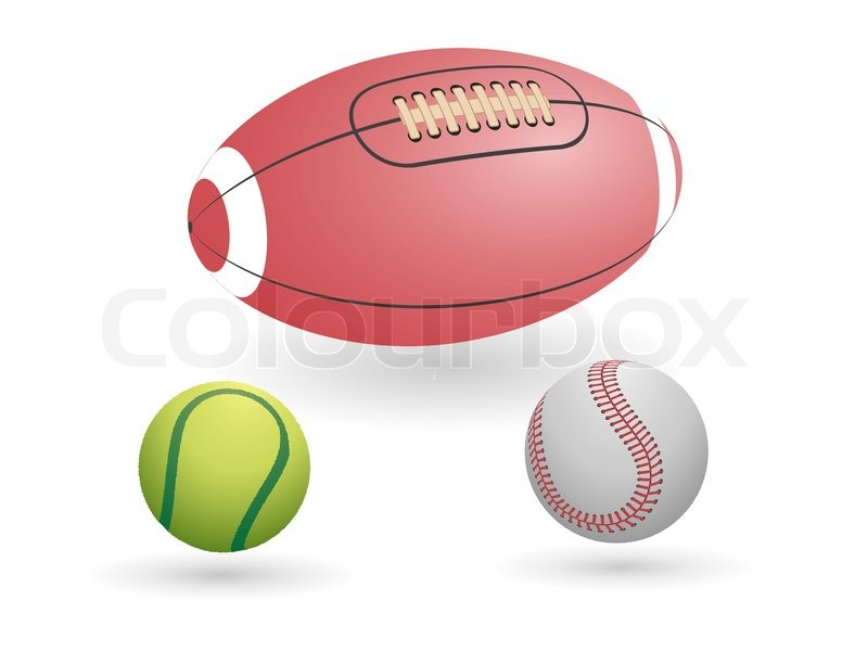Sport ball set - tennis, baseball and american football balls, vector