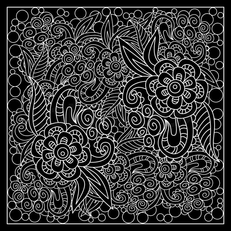 Black And White Abstract Bandana Print With Fantasy Flower Square Enchanting Bandana Pattern