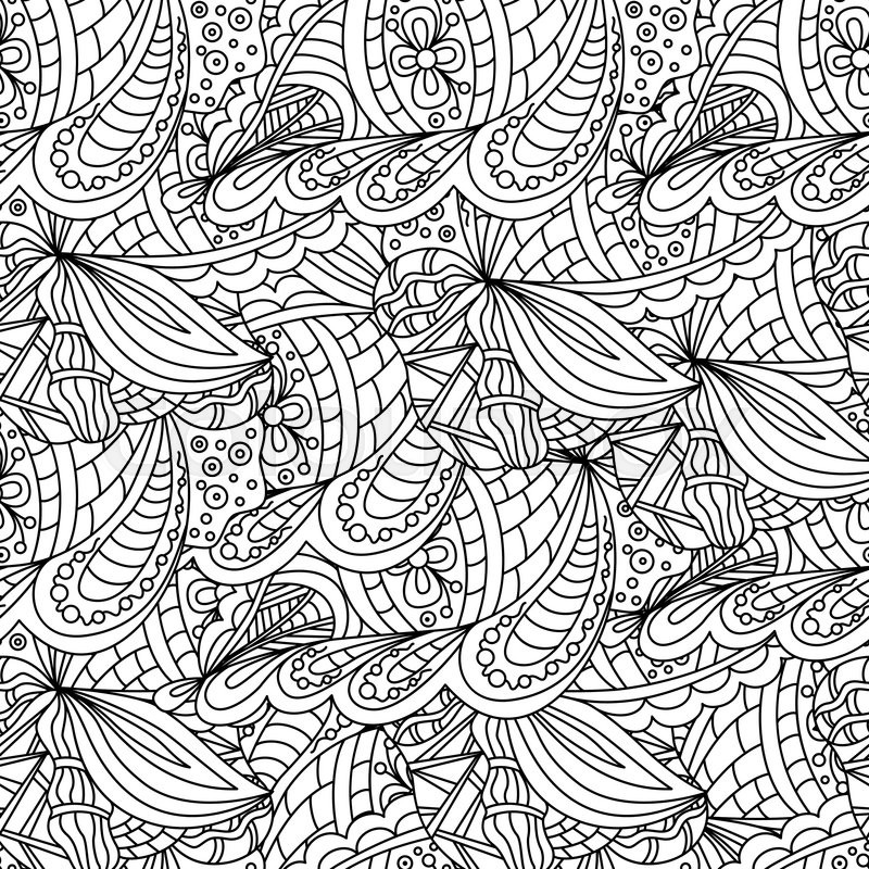 Seamless Black And White Doodle Pattern Background Wallpaper Textile Cover Wrapper Design For Adults Older Children Coloring Book Vector