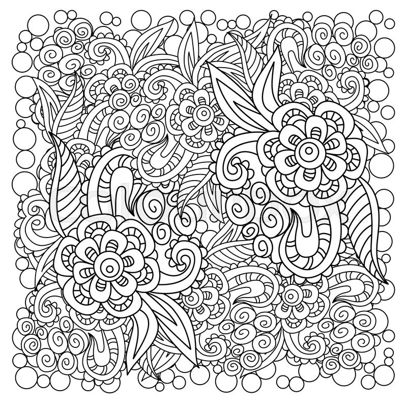 Black And White Floral Background Design For Adults Older Children Coloring Book