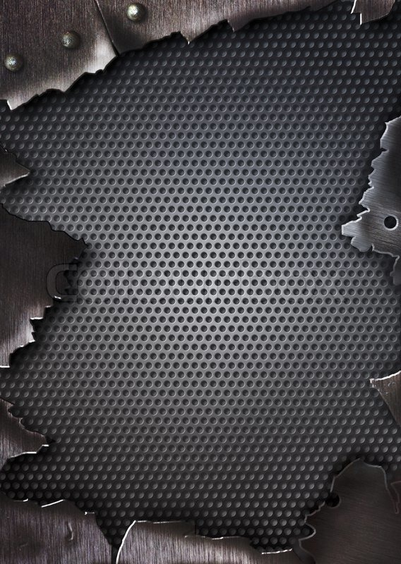 Grunge Crack Metal Background With Rivets Stock Photo