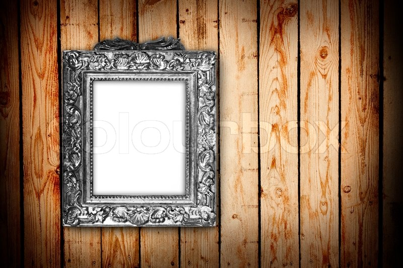 Silver Frame On A Wood Background Stock Photo Colourbox