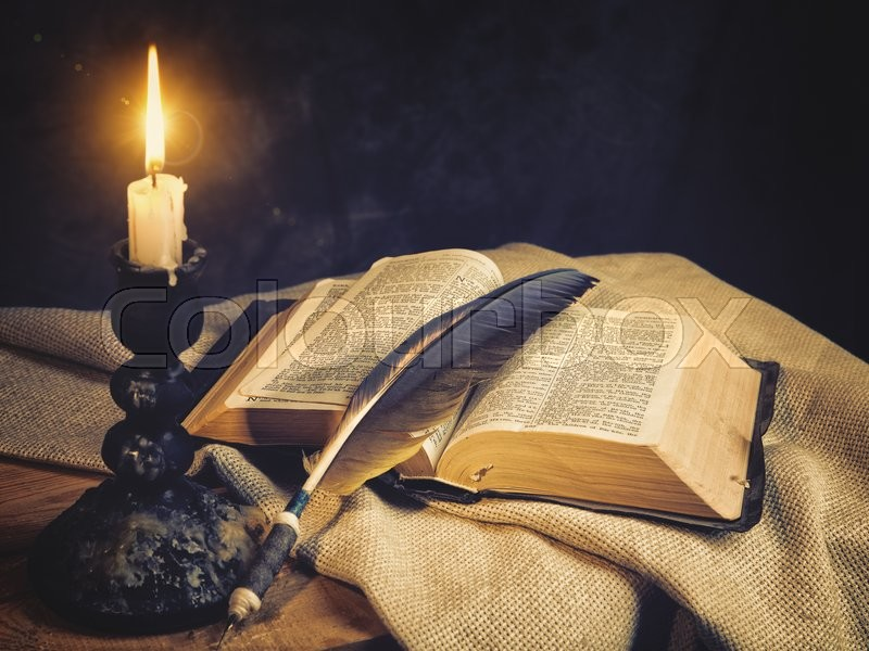 old fashioned backgrounds with opened holy bible stock photo