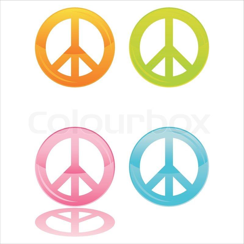 Set Of 4 Colorful Peace Symbols Stock Vector Colourbox