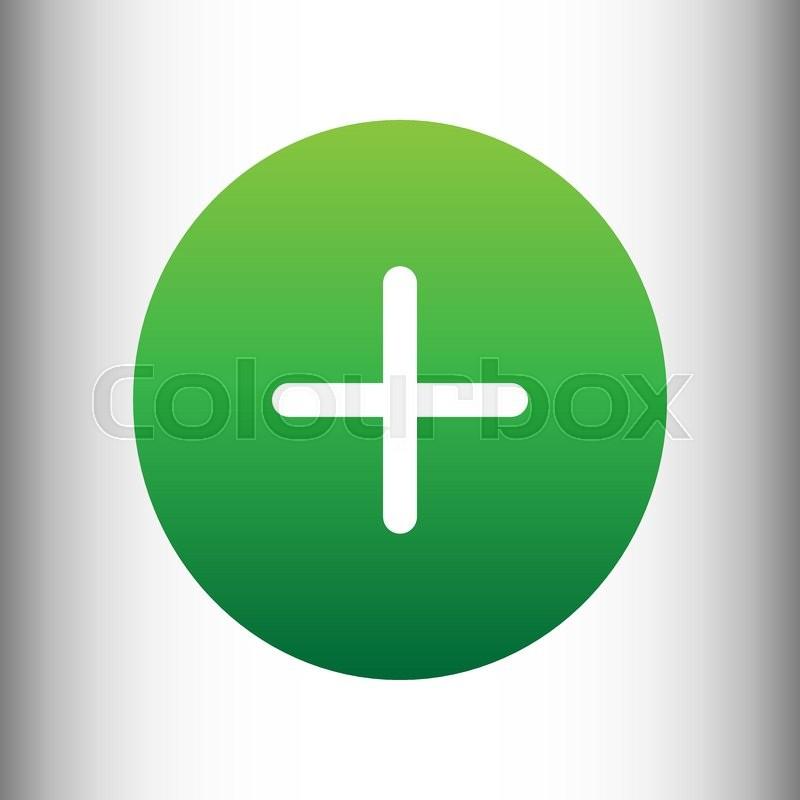 Positive Symbol Plus Sign Green Gradient Icon On Gray Gradient