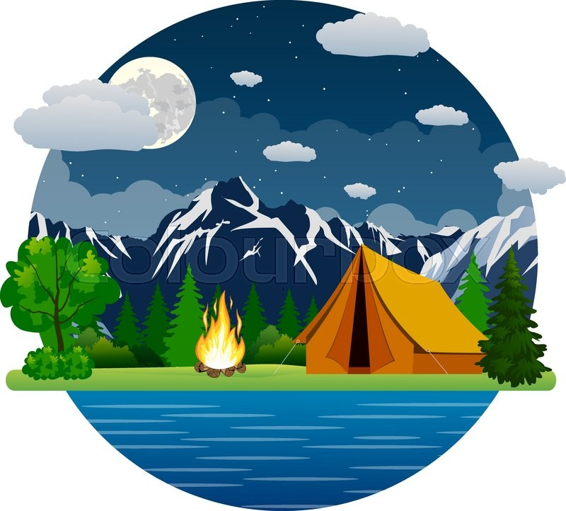 Summer landscape tent and bonfire in ... | Stock vector ...