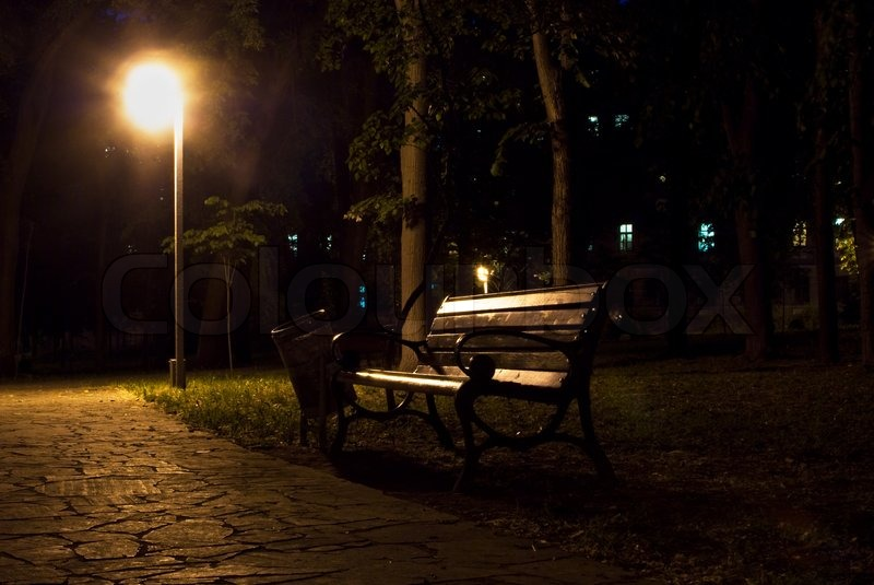 Night View Of Park Bench And Street Lantern Stock Photo