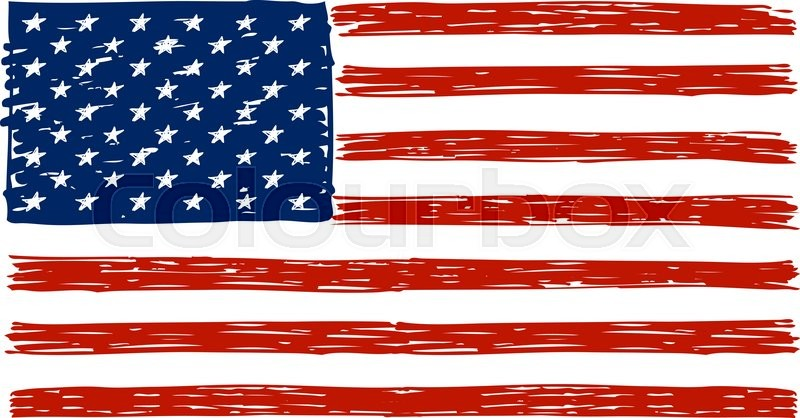 Doodle Drawing American Flag Your Design