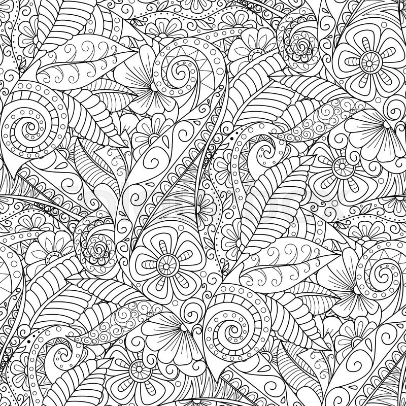 Black And White Seamless Floral Background Design For Adults Older Children Coloring Book Cover Textile Wrapper Vector