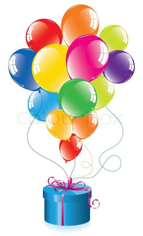vektor reihe von bunten luftballons und eine geschenk box vektorgrafik colourbox. Black Bedroom Furniture Sets. Home Design Ideas