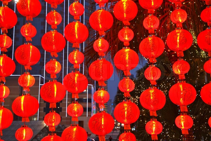 the ornamented decorative red small lamps in the chinese style in