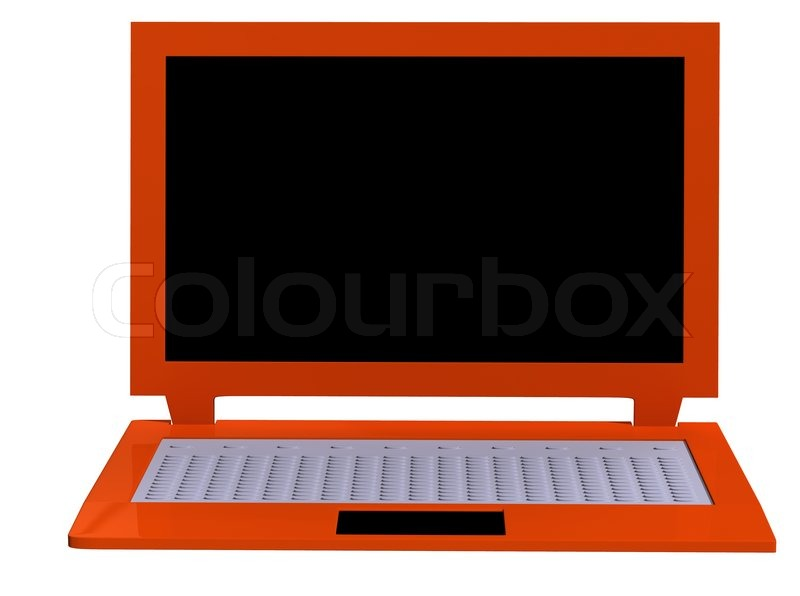Orange Laptop On White Baground Without Office Equipment