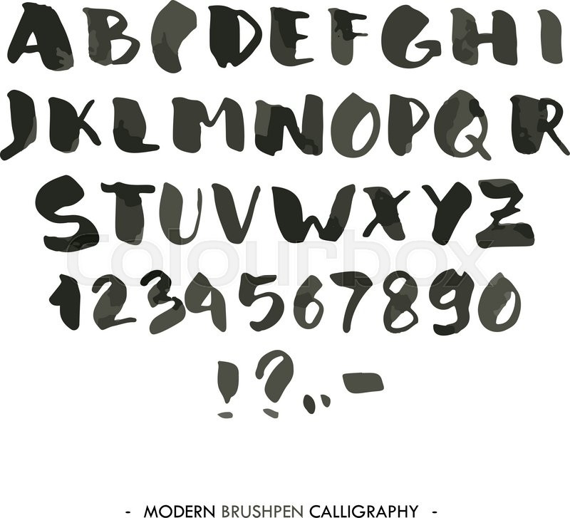Modern Ink Alphabet Font ABC Painted Letters With Brush In Calligraphy Style Capital And Numbers