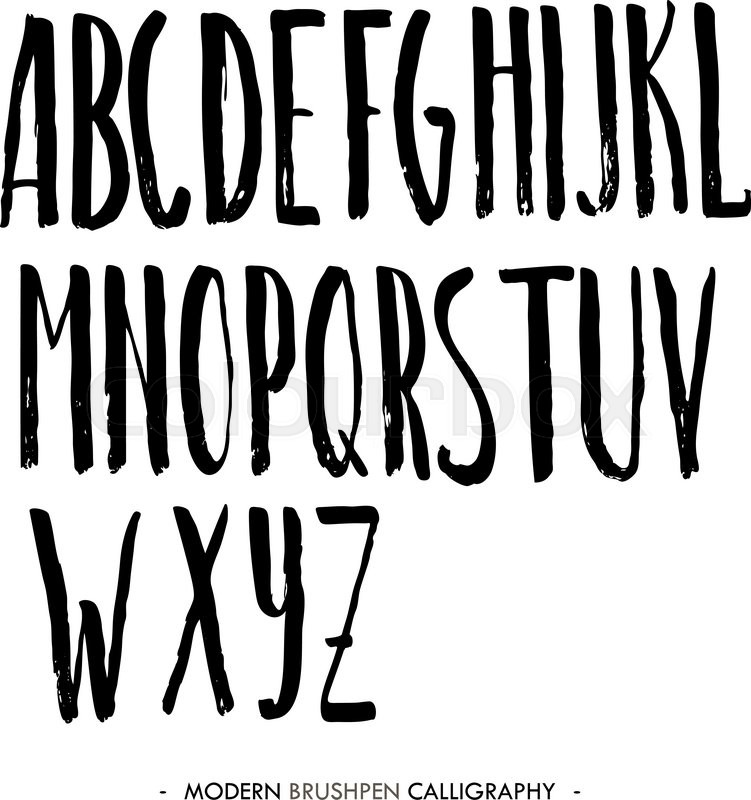 Modern Ink Alphabet Font ABC Painted Letters With Brush In Calligraphy Style Capital