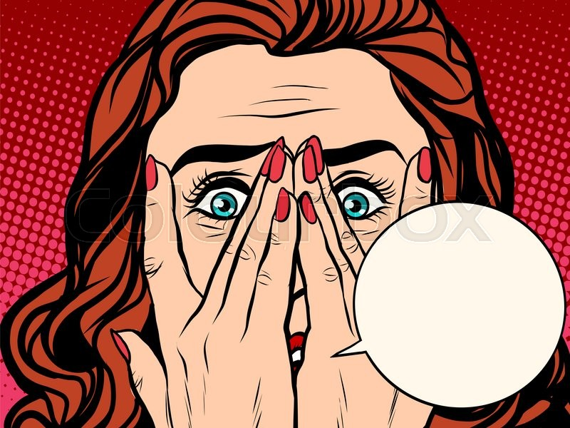 557298c2e2 Frightened shocked girl pop art retro style. comic book bubble text. The  face of a woman emotions