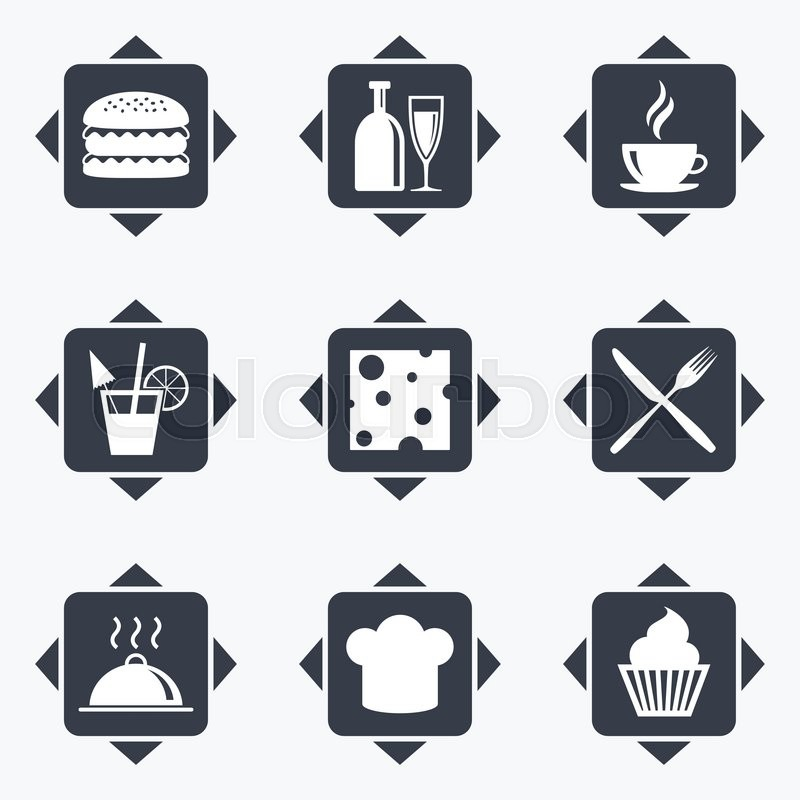 Icons with direction arrows. Food, drink icons. Coffee and hamburger signs. Cocktail, cheese and cupcake symbols. Square buttons, vector