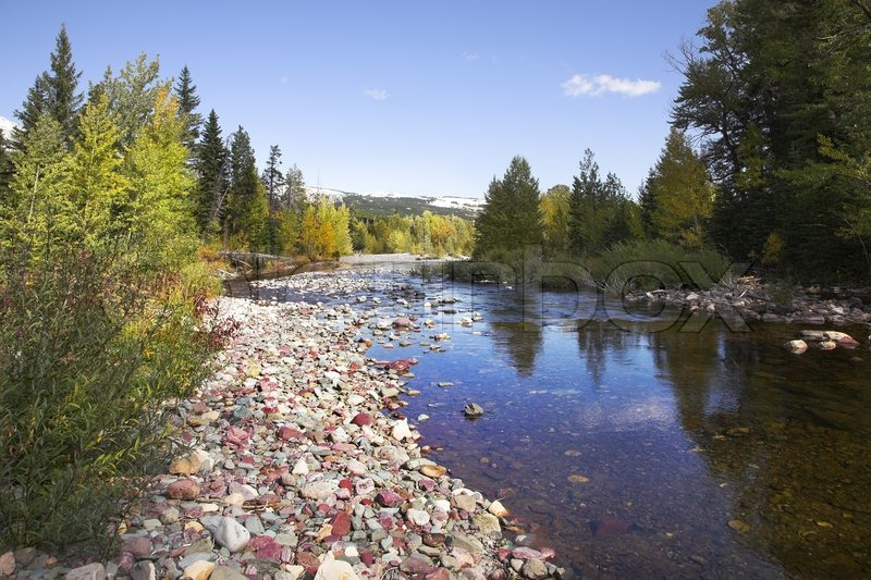 Shallow slow stream with a fine pebble in glacial reserve in Canada, stock photo