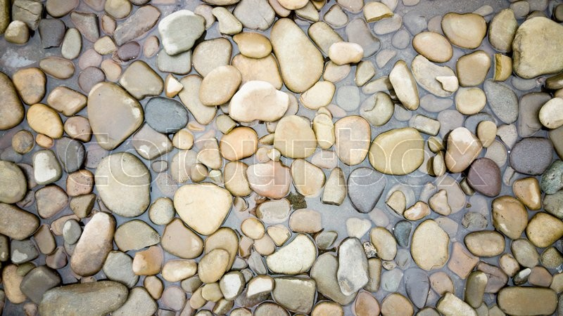 Top View On Colorful Pebbles Covered By River Water