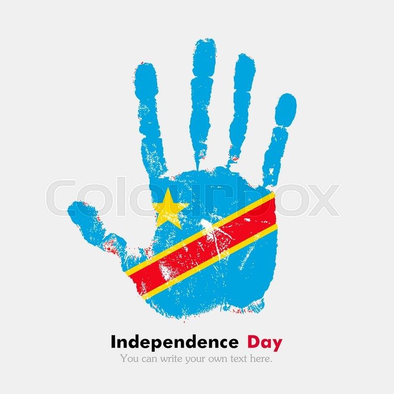 Hand Print Which Bears The Flag Of Democratic Republic Of Congo - Congo independence day