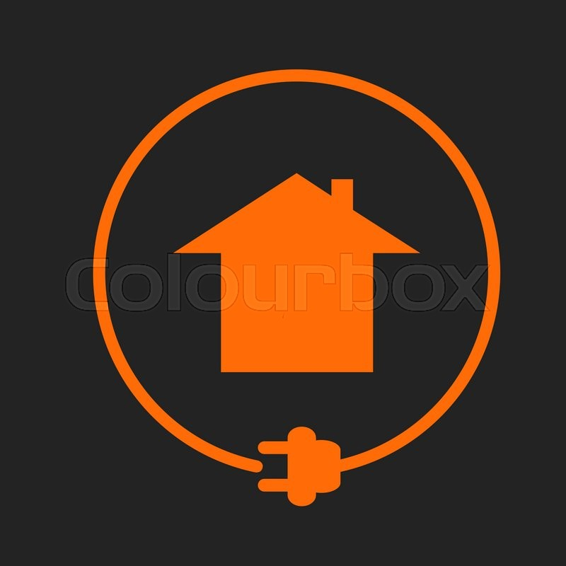 House in the circle with plug, electricity supply. Orange sign on ...